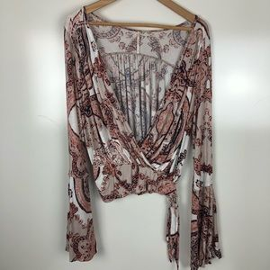 Free people bell sleeve layering top Size small